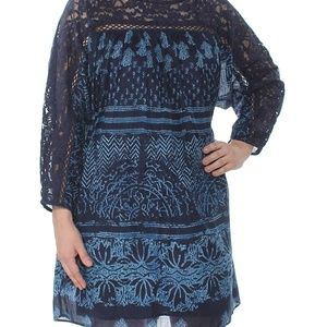Free People Indigo Lace & Crochet Trim Casual Dres